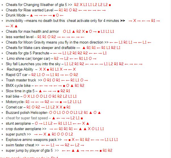 <span><b class=sec>GTA</b> 5 PC cheats - all <b class=sec>codes</b> for GTA V PC</span>