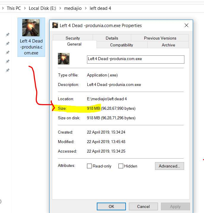 highly compressed Left 4 dead 1 game size before install