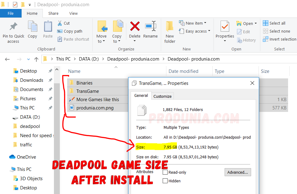 Deadpool game size after installing