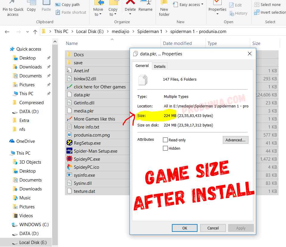 game size after installing Spiderman PC game