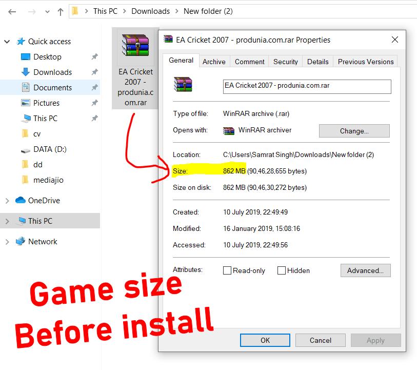 EA Sports Cricket 2007 game file size