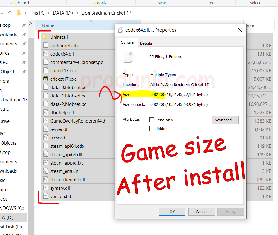 Game size after install