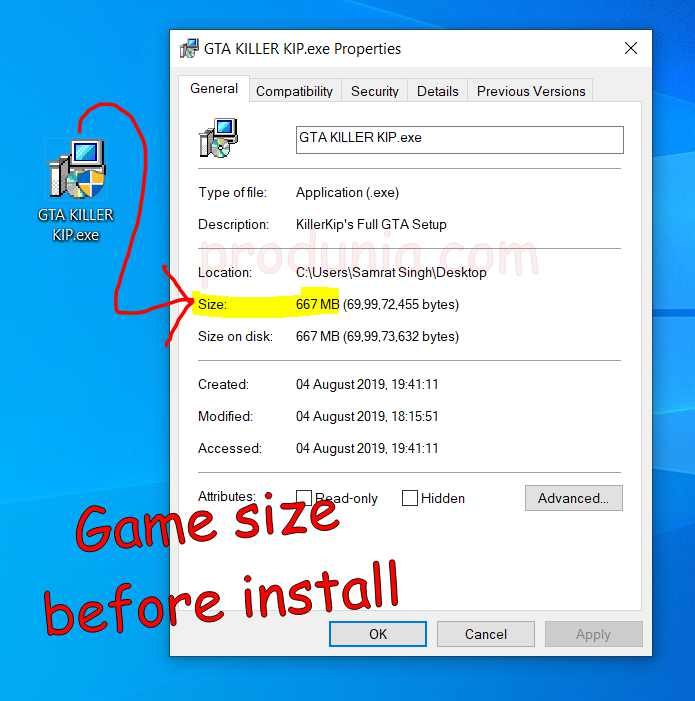 Game size before install